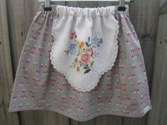 Upcycled doily apron skirt mushroom girls size 6/7