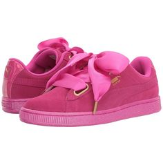 PUMA Suede Heart Satin (Ultra Magenta/Ultra Magenta) Women's Shoes ($80) ❤ liked on Polyvore featuring shoes, platform lace up shoes, wide fit shoes, satin shoes, bow shoes and heart shoes