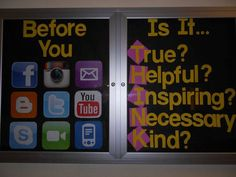 THINK Bulletin Board idea! YESSSSSS @lexi Pixel Shurtleff Terrell someone in our building needs to do this! I can't stand the conduct meetings over instagram harassment!