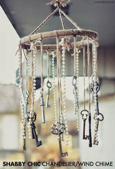 Shabby chic chandelier with hanging keys
