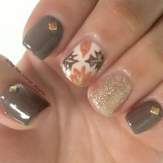 Autumn fall leaves nail art design