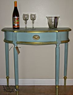 Furniture re-do aqua and gold accent table DIY make it- Victoria Vintage Designs featured at Thursday SWEET HAUTE Share Linky Party pin now...read later!