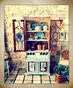 Maritza Miniatures hand painted cabinet. Plates by Lavender Dilly Etsy.