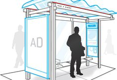 Conept Design for SF Bus Shelters, rooftop solar panels power Wi-Fi routers. Unused energy is pumped into the city's grid.
