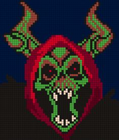 The Horn King From The Black Cauldron Perler Bead Pattern / Bead Sprite Pony Bead Patterns, Peyote Stitch Patterns, Kandi Patterns, Perler Patterns, Beading Patterns, Bracelet Patterns, Cross Stitch Skull, Unicorn Cross Stitch Pattern, Beaded Cross Stitch