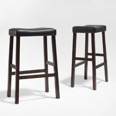 Crosley Furniture Upholstered Saddle Seat Bar Stool (Set of Classic Cherry Leather Counter Stools, Black Bar Stools, Unique Bar Stools, Furniture Legs, Dining Furniture, Furniture Design, Saddle Seat Bar Stool, Adjustable Bar Stools, Quality Time