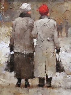 Andre Kohn Neighborhood Gossips Original Oil Painting