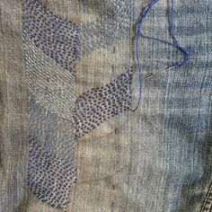 Visible mending braid progress #visiblemending #workroomvisiblemending