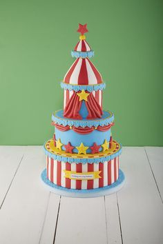 Roll, up roll up - Here's how to make the greatest cake on earth! Circus Theme Cakes, Carnival Cakes, Themed Cakes, Carnival Costumes, Carnival Birthday Parties, Circus Birthday, Circus Party, Circus Wedding, Birthday Ideas