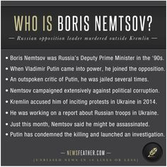Boris Nemtsov, outspoken Putin critic and opposition leader was found murdered.