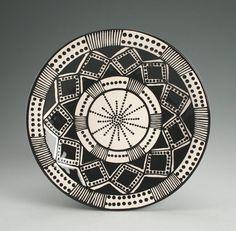 Bohemian Mandala Plate Hand Painted Black and by owlcreekceramics, $21.00