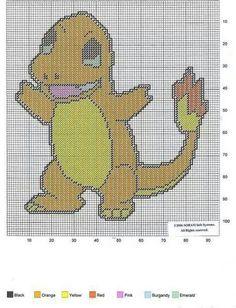 Charmander of Pokemon Plastic Canvas Crafts, Plastic Canvas Patterns, Cross Stitch Designs, Cross Stitch Patterns, Savannah Craft, Pokemon Cross Stitch, Stitch Character, Canvas Letters, Stuffed Animal Patterns
