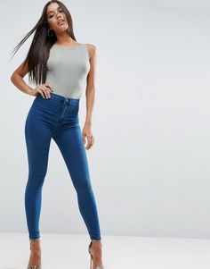 eb13aaabb56128 ASOS RIVINGTON High Waist Denim Jeans in New Blair Dark Wash - Blue Jeans  Pants,