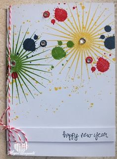 bright colors using the gorgeous grunge and kinda eclectic stamp sets bring new year greetings on