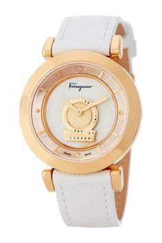 Image of Salvatore Ferragamo Women's Minuetto Diamond Leather Strap Watch - 0.004 ctw