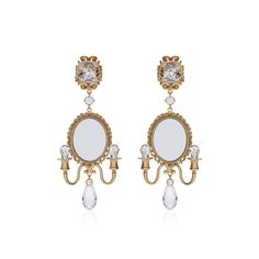 Dolce & Gabbana Mirror on the Wall Chandelier Earrings (1,440 CAD) ❤ liked on Polyvore featuring jewelry, earrings, dolce gabbana jewelry, mirror earrings, dolce gabbana earrings, earrings jewelry and chain earrings