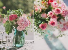 Colourful floral mason jars  | onefabday.com