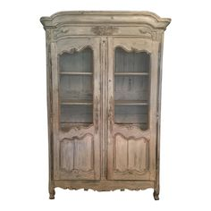 Century French Country Armoire With Original Whitewash Finish, 1795 Armoire Makeover, Furniture Makeover, Shabby Chic Cabinet, Painted Armoire, French Armoire, Victorian Life, French Country House, 18th Century, Whitewash