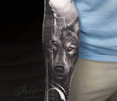 Wolf in City tattoo by Arlo Tattoos
