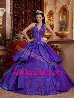 Sexy Halter Floor-length Taffeta Dresses for Quinceanera in Purple
