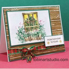 TOBin Art Studio - Sharing my love of crafting including coloring, painting and brush calligraphy. Watercolor Christmas Cards, Watercolor Cards, Christmas Cards To Make, Xmas Cards, Greeting Cards, Art Impressions Stamps, Window Art, Watercolour Tutorials, Art Studios