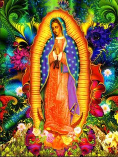 Our Lady of Guadalupe ~ Aztec Goddess Tonatzin/Invoking Divine Energy Blessed Mother Mary, Divine Mother, Blessed Virgin Mary, Madonna, Lady Guadalupe, Mama Mary, Holy Mary, Chicano Art, Mexican Folk Art