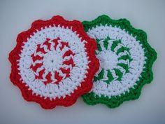 Peppermint Coaster Crochet Patttern - FREE