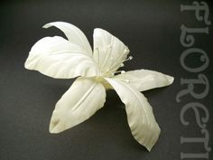 Ivory Silk Stargazer Lily Bridal Hair Accessory w Swarovski Crystals | Floreti - Wedding on ArtFire. $46.17
