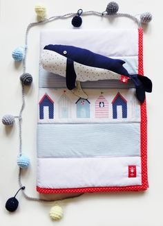The ADVENTURE Begins presents: cotton #whale, handmade #nautical baby #quilt, #crochet #bounting,
