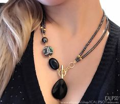 Black necklace for women onyx necklace for wife statement necklace gemstone jewelry hematite mom birthday anniversary gift for her Blue Sapphire Necklace, Black Necklace, Lariat Necklace, Sapphire Jewelry, Necklace Ideas, Special Gifts For Her, Gifts For Mom, Men Gifts, Colar Lariat