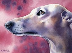 Tirage d'Art de chien LÉVRIER signée par l'artiste DJ Rogers