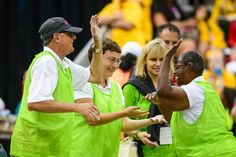 . Kenneth Skinner of Realto, Nicole Landoskey and Sheryl fairbanks high five each other after defeating Panama in Bocce team play at the Special Olympics Monday, July 27, 2015.  The team went on to defeat Panama and win the gold medal.   (photo by David Crane/Los Angeles Daily News)