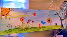 Carolyn's Funky Furniture, this is a 4ft by 8ft piece of plywood that will be attached to a fence facing the street to make a nice mural.