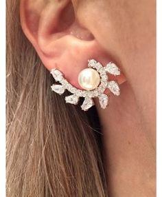 ear cuff perola e zirconias rodio semi joias noivas