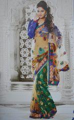 #Green and beige colour half net and half #Georgette brocade designer #saree #sari