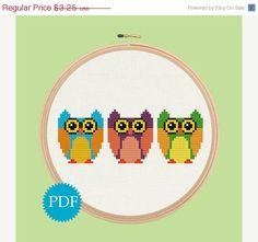Sale 40% Off INSTANT DOWNLOAD Cute Owls Cross Stitch Pattern PDF