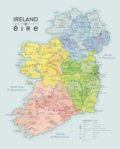 Beautiful Map of Ireland in English and Irish (Gaeilge) Wales Map, Ireland Culture, Ireland Map, Irish Language, Language Quotes, Irish Times, Irish Sea, The Province, English