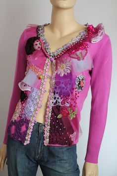Fuchsia Boho Chic Romantic Embroidered Beaded by levintovich Boho Chic, Hippie Chic, Ropa Upcycling, Crochet Capas, Altered Couture, Satin Flowers, French Lace, Sweater Jacket, Sweater Fashion