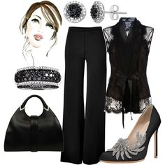 Luxe Black & Bling, created by fleurdelove on Polyvore