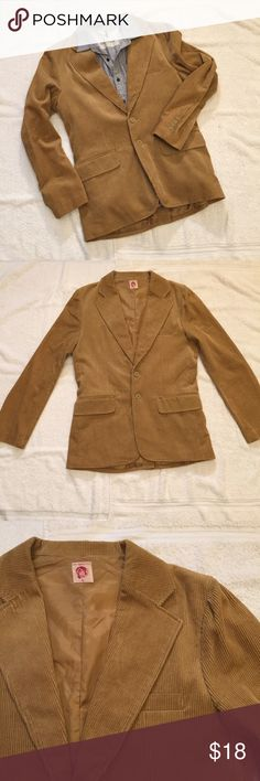 """Vintage Tan Corduroy Jacket Vintage Tan Corduroy Jacket. Very soft material, 100% cotton. Size M measures: 18"""" across shoulders, 21"""" across chest, 27"""" sleeve. Tailored fit with back slit, 2 button close, 2 front pockets, chest pocket and fully lined. 1216/100/11617 Vintage Suits & Blazers Sport Coats & Blazers"""