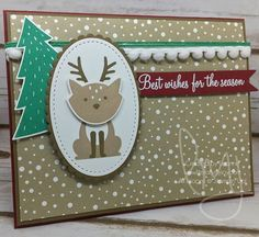 Merry Christmas to one and all! #foxyfriends #hollyberryhappiness #stampinup #literallymyjoy #papercrafting #cardmaking #stampinupdemonstrator #CreatewithConnieandMary #CCMC437 #christmas #holiday #reindeer #tree #pompoms #heatembossing #2016HolidayCatalog #20162017AnnualCatalog #linkinprofile