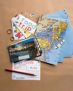 [DIY]: {{Ring-Bound Books}}  --Put all of the souvenirs from your family road trip to use with a scrapbook on loose-leaf rings that your kid can cherish through the years.    Bring some supplies, such as a hole punch, plain tags with pre-punched holes, and maps. Have your child mark each city with a sticker on a map, and add a matching sticker to the envelope.
