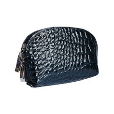 Italian Navy Blue Croc Leather Clutch Bag/Cosmetic Bag - £12.99