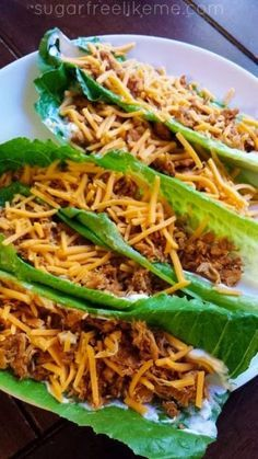 """Carb free tortilla Quest Low Carb Shredded Chicken Tacos Comments: """"I never thought about using lettuce like that! Great idea. Also, another low carb recipe for shredded chicken tacos."""" """"Ground beef can be used as well."""" """"Chicken breast (however many you want) 1-2 packets of taco seasoning (depending on how much chicken you have) Large romaine lettuce leaves Taco fixins of your choice"""""""