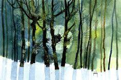 Green moon wood   by Paul Steven Bailey