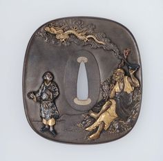 Tsuba with design of rakan, dragon and attendant. Meiji era Late 19th century - Iwamoto Konkan (Japanese, 1744–1801) http://www.mfa.org/collections/object/tsuba-with-design-of-rakan-dragon-and-attendant-12186