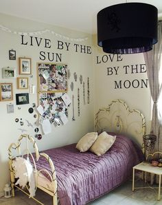 Live by the sun, love by the moon... Gorgeous for a young ladies room! Or perhaps swap the bed for a comfy couch, add a book case and call it a reading room?!