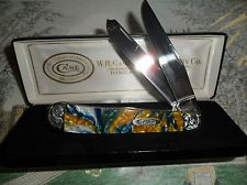 CASE XX 9254 TRAPPER POCKET KNIFE WONDERFUL SAPPHIRE GLOW EMBOSSED BOLSTERS