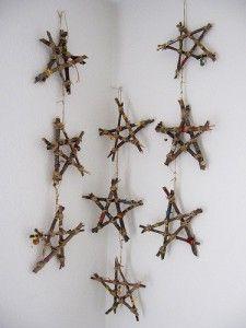 estrellas de ramas secas para Navidad