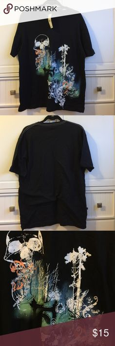 """Marc Ecko Cut & Sew T Shirt Black t shirt with short sleeves and brightly colored graphics on the front . 100% cotton. Brand new with tags attached and never worn. 28"""" shoulder to bottom. 22"""" armpit to armpit. Marc Ecko Shirts Tees - Short Sleeve"""